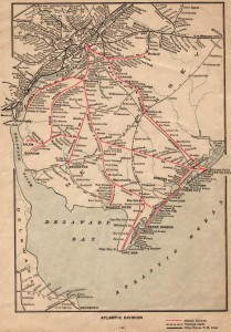 Contemporary railroad map of southern New Jersey. The Camden & Atlantic is the red line running due southeast from Philadelphia