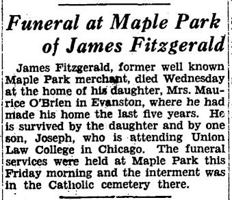 Fitzgerald James Death Notice True Republican 11 May 1929