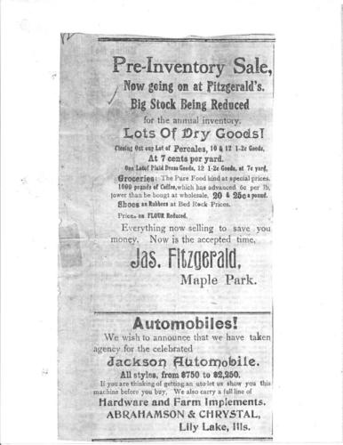 James Fitzgerald Store Newspaper Advertisment